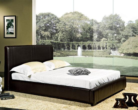 Abbyson Living - Rene Bi-cast Dark Brown Leather Bed -
