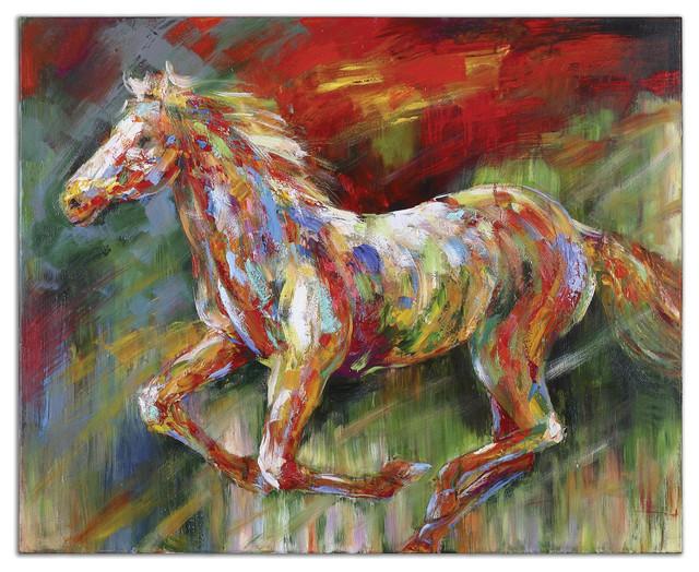 Wild Run Hand Painted Art traditional-artwork