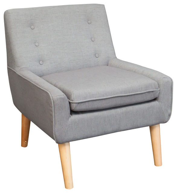 Brockston Fabric Retro Accent Chair Light Grey