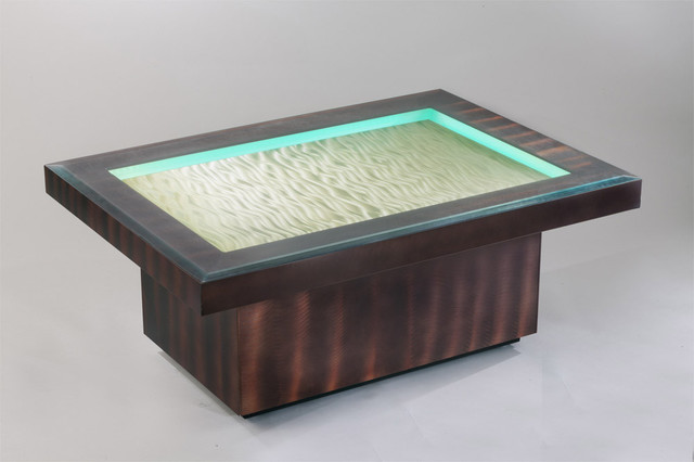 Ripples root beer and bronze cocktail table with battery powered led lighting modern coffee Led coffee table