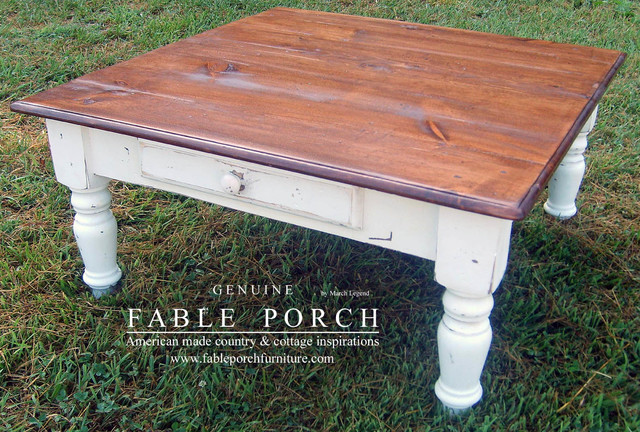 Custom farmhouse furniture eclectic coffee tables charlotte by fable porch Farmhouse coffee tables