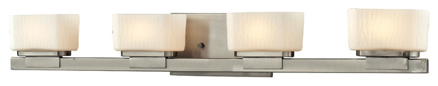 Z-Lite 3019-4V Gaia 4 Light Bathroom Vanity Lights in Brushed Nickel transitional-bathroom-vanity-lighting