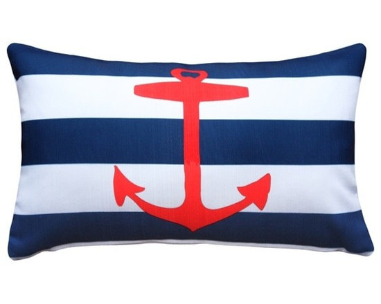 Pillow Decor - Pillow Decor - Red Anchor Nautical Throw Pillow 12X20 - This versatile nautical style pillow features a timeless bright red anchor motif placed against the classic marine theme of white and navy stripes. This colorful throw pillow is a wonderful summertime accent for your home. Made from a linen-like indoor/outdoor fabric, it will work perfectly in a variety of living spaces from the patio or deck to the living room or a child's room. Use the Red Anchor Throw Pillow to add a splash of color or to tie-in similar and complementary colors in your space.