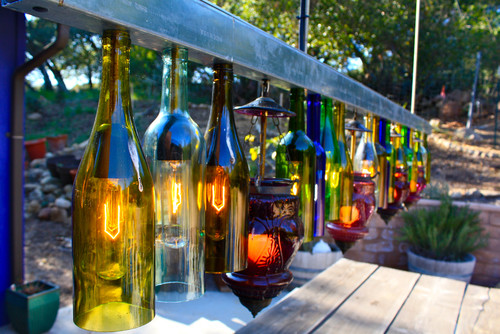 unusual outdoor lighting. outdoor home decor can include a diy project building these wine bottle lights unusual lighting 6