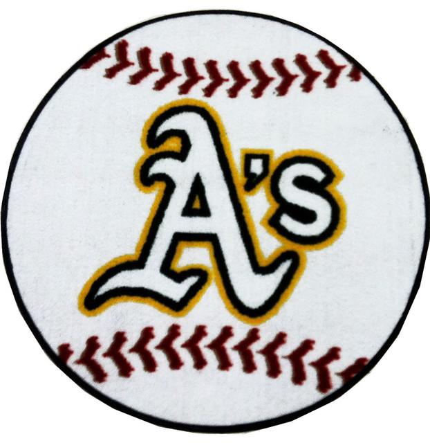 Mlb Oakland Athletics Baseball Round Shaped Accent Rug
