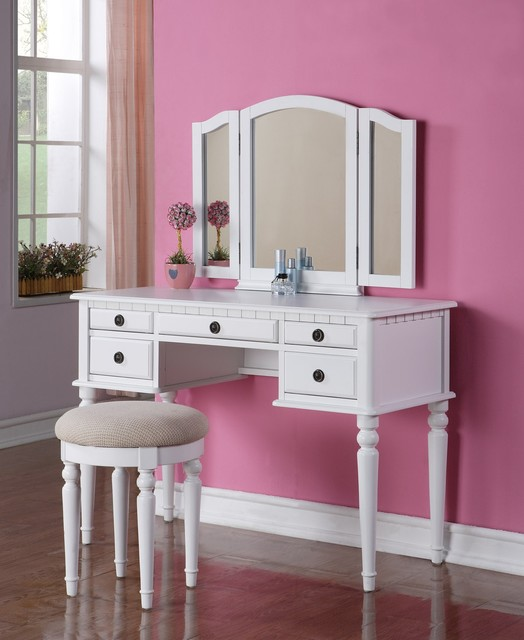 Poundex F4074 White 5 Drawer Vanity Set With Mirror And Stool Modern Kids Bedroom Vanities