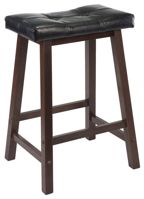 Winsome Wood Mona 24 Inch Cushion Saddle Seat Stool w