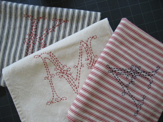 Hand-Embroidered Monogram Tea Towel traditional-towels