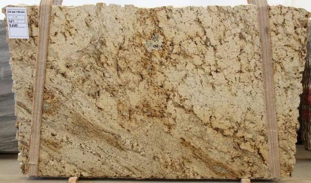 Sienna Cream Granite Slab Traditional Kitchen