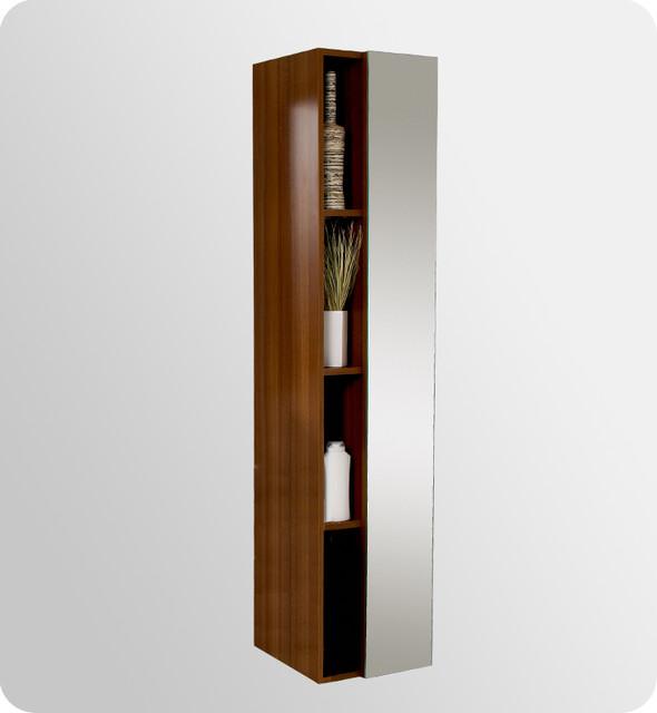 Fresca Teak Bathroom Linen Side Cabinet w 4 Cubby Holes
