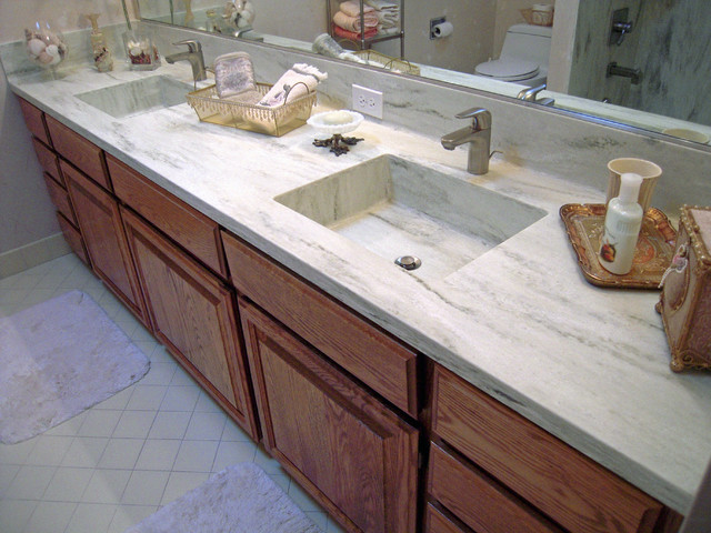 Corian Vanity Countertops : Corian vanity countertop with matching sinks and seamless