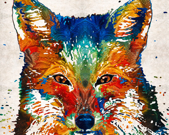 Animals, Fish and Birds - Colorful Fox Art - Foxi - By Sharon Cummings