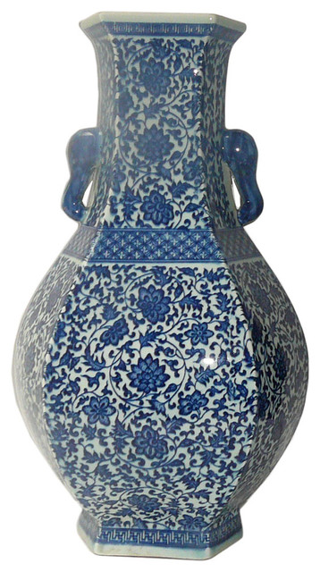 Chinese blue white porcelain hexagon lotus flower vase asian vases by golden lotus antiques - Great decorative flower vase designs ...