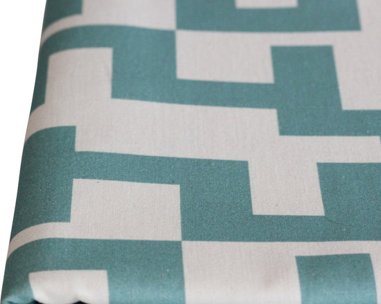 PURE Inspired Design - Maze Pillow, Surf/Natural, Swatch - Maze organic cotton canvas swatch in Surf and Natural.  All our pattern organic fabric is grown, woven, and printed in the USA.