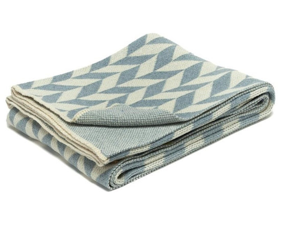 Eco Chevron Throw Blanket-Blue Pond - This modern stripe throw blanket features a geometric pattern to add a peak of interest to your favourite space. Use this on-trend throw to accent your bedroom, living room or den. Choose from a variety of colors.