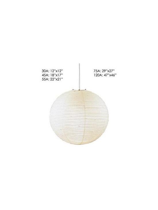 Akari Pendant Lights, spherical Forms, by Isamu Noguchi - -