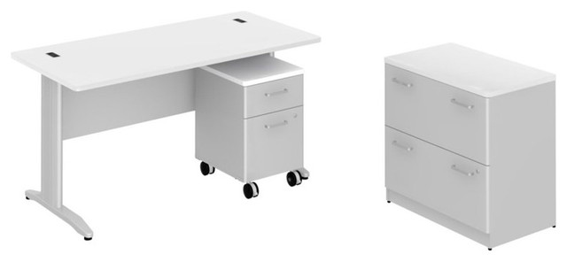 "Bush Sector 60"" Desk with Two File Cabinets in White transitional-home-office-products"