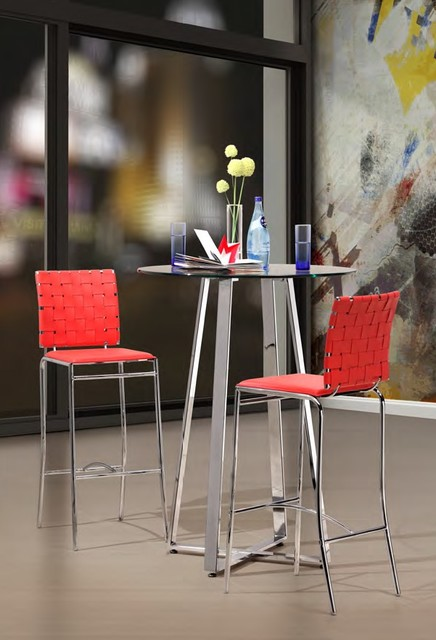 Zuo - Criss Cross Barstool in Red modern-bar-stools-and-counter-stools