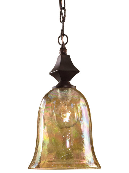 Uttermost - Elba Crackle Glass Mini Pendant - Hang this amazing piece of artistry by Carolyn Kinder anywhere you want to illuminate and dazzle your space. The beautiful, bell shaped crackled glass globe lets light shimmer and glitter like a rare jewel. Too bad you can't get them as earrings.