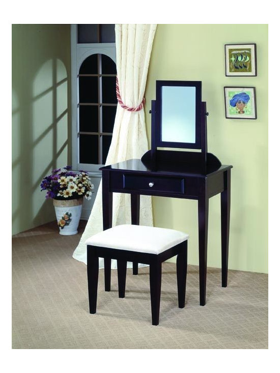 Bedrooms Furniture - Transitional Cappuccino Vanity&Stool Set