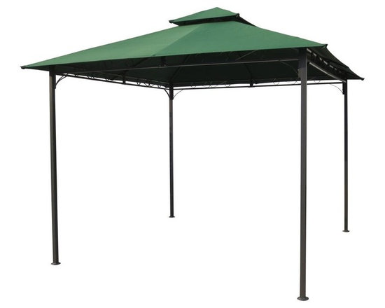 International Caravan - Patio Canopy Gazebo in Forest Green - All weather resistant frame and canopy. Equipped with UV resistant polyester fabric. Assembly required. 118 in. L x 118 in. W x 105 in. H (52 lbs.)Perfect for outdoor settings. Two-tiered canopy adds style as well as function to your new outdoor venue.