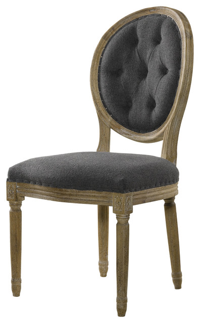 Louis Side Chair- Tufted Wool traditional-dining-chairs