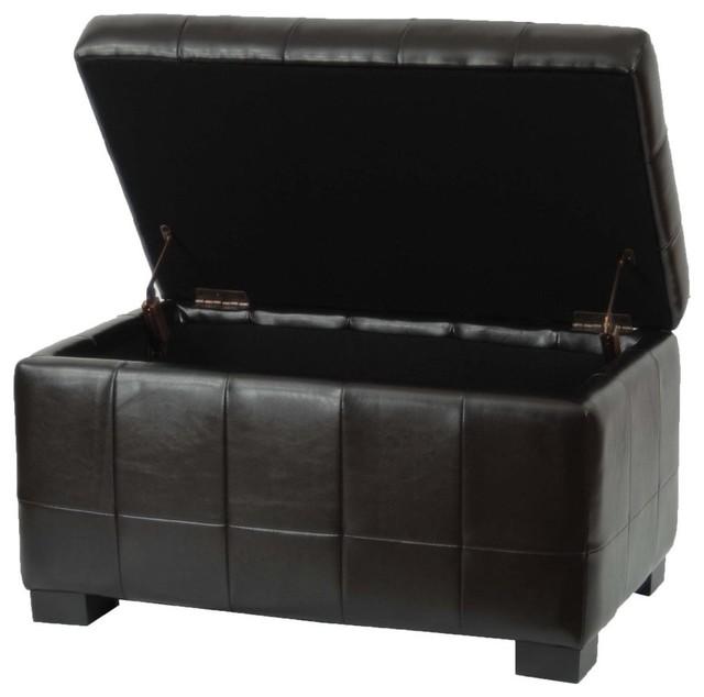 safavieh small manhattan storage bench brown leather