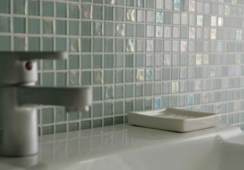 Dewdrops recycled glass tile modern bathroom by - Recycled glass tiles bathroom ...