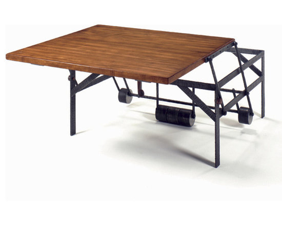 """Wright Tabe Company - The No. WR 24 High Low Table - Our first piece of motion furniture, this cocktail table is also a dinner table for two or a work table for one. Using a clever arrangement of pivot arms, counterweights, gravity, and very little effort, the top of this table may be lifted and pulled 26"""" toward the occupant(s) of a sofa or lounge chair. Plain, Mitered or Breadboard tops."""