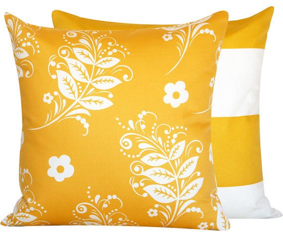 They Call Me Mellow Yellow Collection Throw Pillow l Chloe and Olive contemporary-decorative-pillows