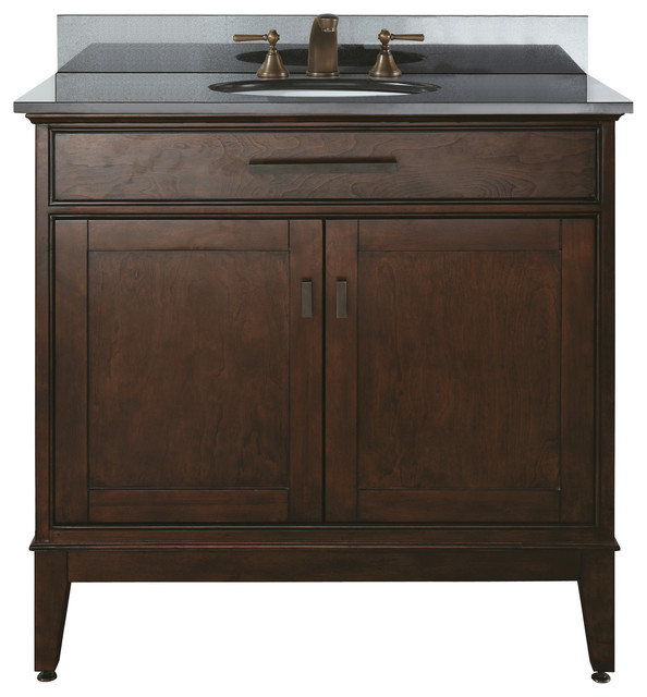 Madison 36 Vanity Combo Black Granite Top Contemporary Bathroom Vanities And Sink Consoles