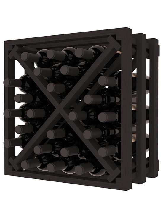 Lattice Stacking X Wine Cube in Pine with Black Stain - Designed to stack one on top of the other for space-saving wine storage our stacking cubes are ideal for an expanding collection. Use as a stand alone rack in your kitchen or living space or pair with the 16-Bottle Cubicle Wine Rack and/or the Stemware Rack Cube for flexible storage.