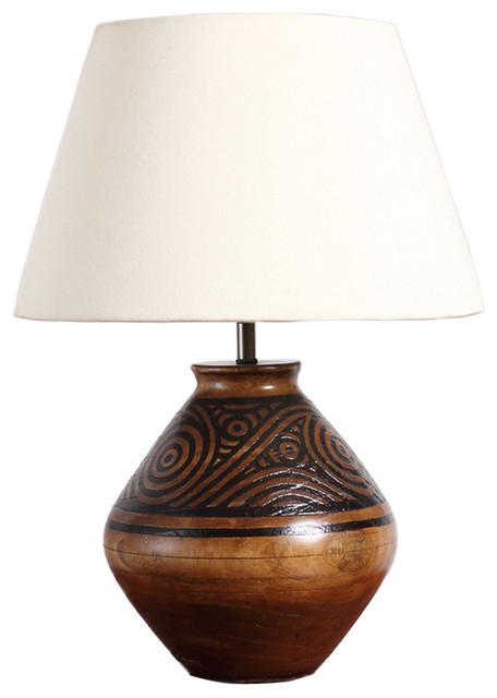 Handmade Wooden Pot Table Lamp With Fabric Shade