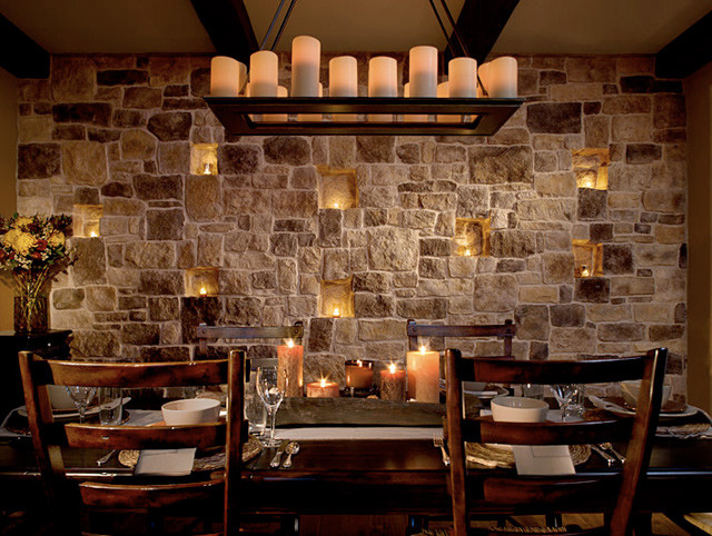 stone facade AutumnLeaf mediterranean dining room