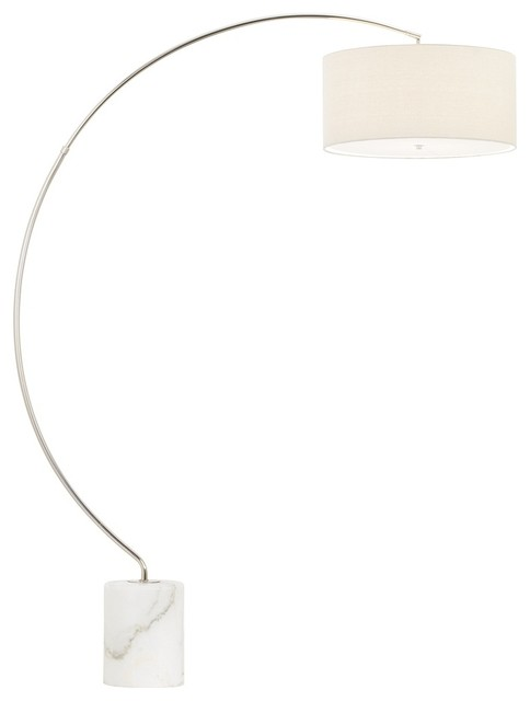 Contemporary Bridget Town Satin Nickel Arc Floor Lamp