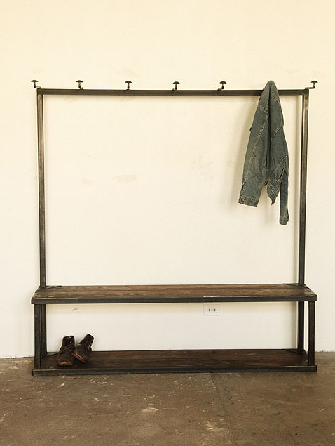 Coat Rack Bench industrial-hall-trees