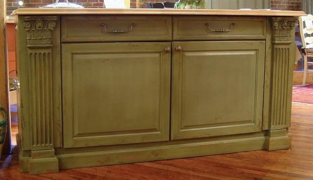 7 Ft. Wide Country Kitchen Island W 2 Long Drawers & 2