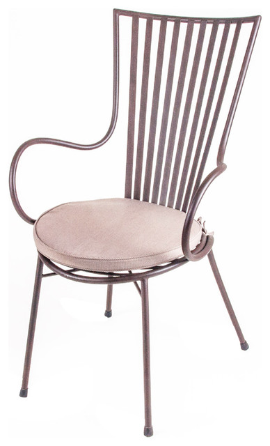 New Rustics Mosaic Arm Chair in Wrought Iron traditional-dining-chairs