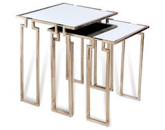 Hollywood Regency Antique Silver Leaf Mirror Nesting Side Tables contemporary-coffee-tables