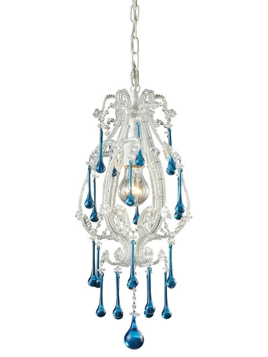 Elk Lighting Opulence Pendant in White and Aqua - Classic and timeless describe this beautiful Elk Lighting Opulence Pendant in White and Aqua. The Elk Collections blend the artistry of hand-blown glass, classics of today and a traditional ambiance to bring you exciting, unique and timeless creations.