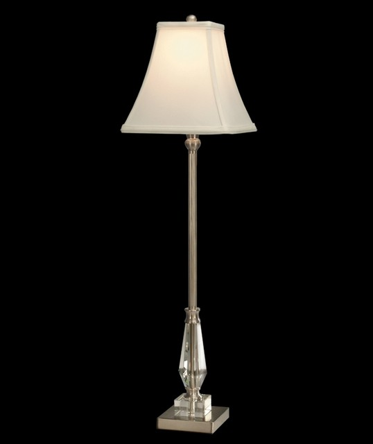 Crystal Dale Tiffany Brushed Nickel Sieve Buffet Table Lamp traditional-table-lamps