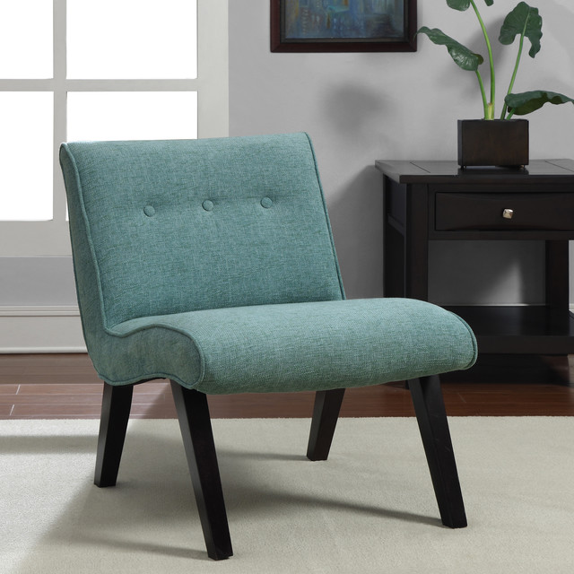Aqua Armless Tufted Back Chair Contemporary Armchairs And Accent Chairs