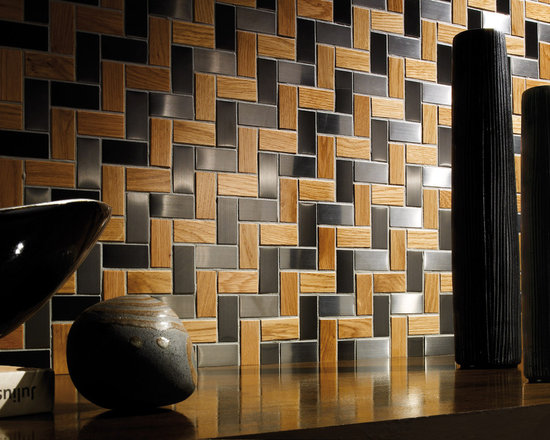 Mosaic Tile - Metal glass and wood mosaic tile, suitable for interior installations.  Customizable with different glass and metal colors.