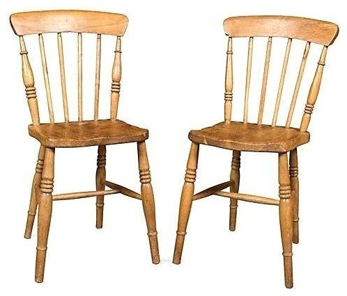 Antique English Pine Chairs A Pair Farmhouse Dining - Antique Pine Kitchen Chairs Antique Style Pine Fiddle Back Scullery