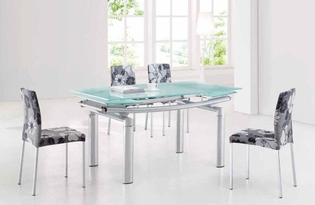 Extendable Frosted Glass Top Fabric Seats Modern Dining