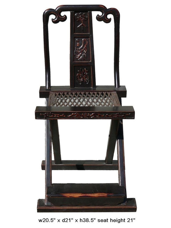 Chinese Vintage Foldable Chair with Relief Carving and Footrest - You are looking at a Chinese vintage foldable chair with relief Carving and footrest. This chair is easy to carry and space saving.
