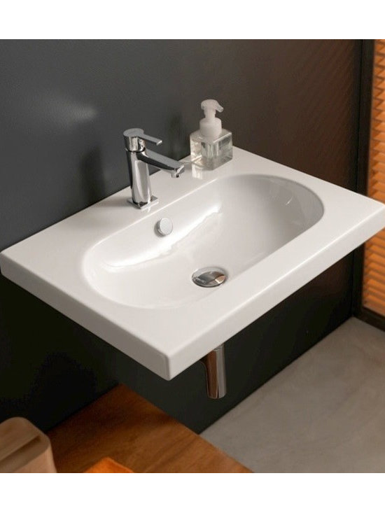 "Tecla - Beautiful Rectangular Ceramic Built-In, Vessel, or Wall Mounted Bathroom Sink - This gorgeous white ceramic bathroom sink by Tecla is designed and made in Italy. This contemporary rectangular sink with an extended oval shaped basin includes overflow. Can be installed as a wall mounted, above counter vessel, or built-in sink. Available with either a single faucet hole (as shown), no hole, or 3 holes. Sink dimensions: 23.82"" (width), 17.72"" (depth)"