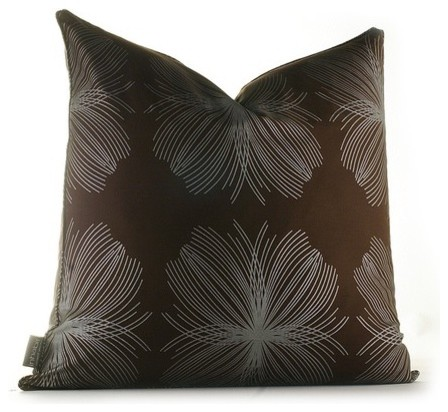 Aequorea Organic Pillow in Chocolate and Silver modern-pillows