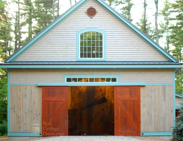 Sliding Barn Doors On Home Gymnasium