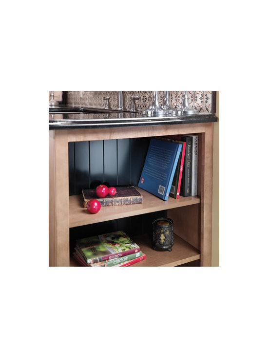 """Book Case with Contrasting Back Panel - Design a unique bookcase with a 12"""" deep base cabinet without doors, an integrated end panel, and a contrasting beaded back board."""
